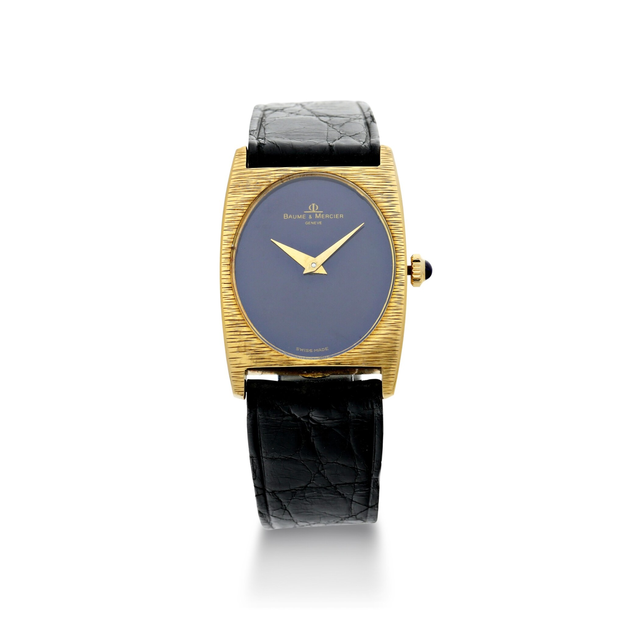 View full screen - View 1 of Lot 1056. REFERENCE 37073 A YELLOW GOLD OVAL WRISTWATCH WITH LAPIS LAZULI DIAL, CIRCA 1980.