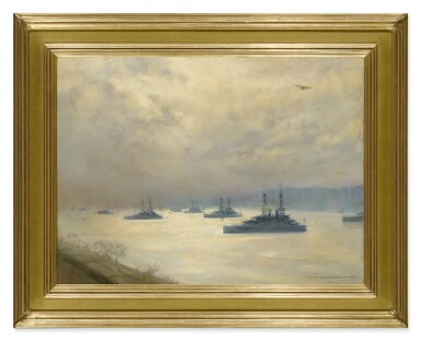 View 2. Thumbnail of Lot 489. MARY FAIRCHILD MACMONNIES LOW | BATTLESHIPS ON THE HUDSON RIVER (THE TURN OF THE TIDE).