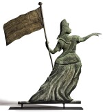 IMPORTANT MOLDED COPPER GODDESS OF LIBERTY WEATHERVANE, ATTRIBUTED TO WILLIAM HENIS OR VINCENT W. BALDWIN, PHILADELPHIA OR NEW YORK, CIRCA 1875-79