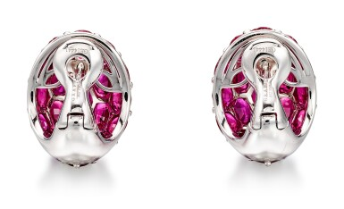 View 4. Thumbnail of Lot 1029. Pair of Ruby and Diamond Earrings | 格拉夫| 紅寶石 配 鑽石 耳環一對 (紅寶石及鑽石共重約33.50及1.80克拉).