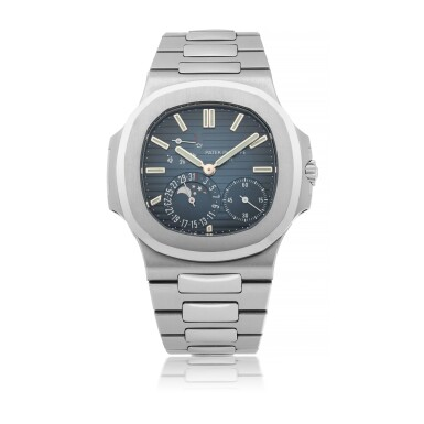 PATEK PHILIPPE | NAUTILUS, REF 5712 STAINLESS STEEL WRISTWATCH WITH DATE, MOON PHASES, POWER RESERVE INDICATION AND BRACELET CIRCA 2014