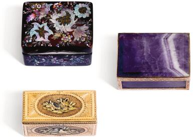 View 1. Thumbnail of Lot 62. A FOUR-COLOUR GOLD SNUFF BOX, PROBABLY HANAU, CIRCA 1765.