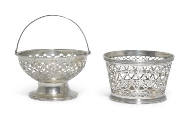 TWO DUTCH SILVER BASKETS, ONE, H.A. DE MEIJER, THE HAGUE, 1827, THE SECOND, MAKER'S MARK MW, AMSTERDAM, 1816