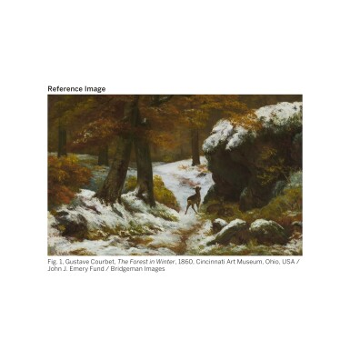 View 3. Thumbnail of Lot 11. GUSTAVE COURBET   Paysage de neige avec arbres et rochers.
