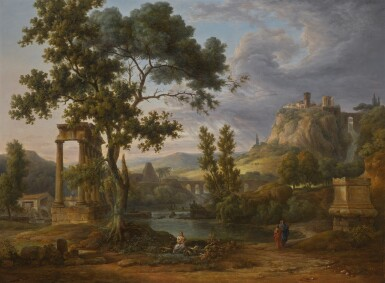 CIRCLE OF PIERRE-HENRI DE VALENCIENNES | An extensive mountainous classical Italianate landscape with figures by a small lake, a hill-top town to the right