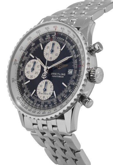 View 2. Thumbnail of Lot 84. BREITLING | NAVITIMER, REF A13322 STAINLESS STEEL CHRONOGRAPH WRISTWATCH WITH DATE AND BRACELET CIRCA 2001.