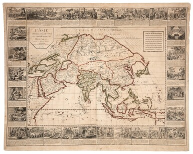 View 2. Thumbnail of Lot 56. Wall maps | A set of four French wall maps of the continents, 1752.