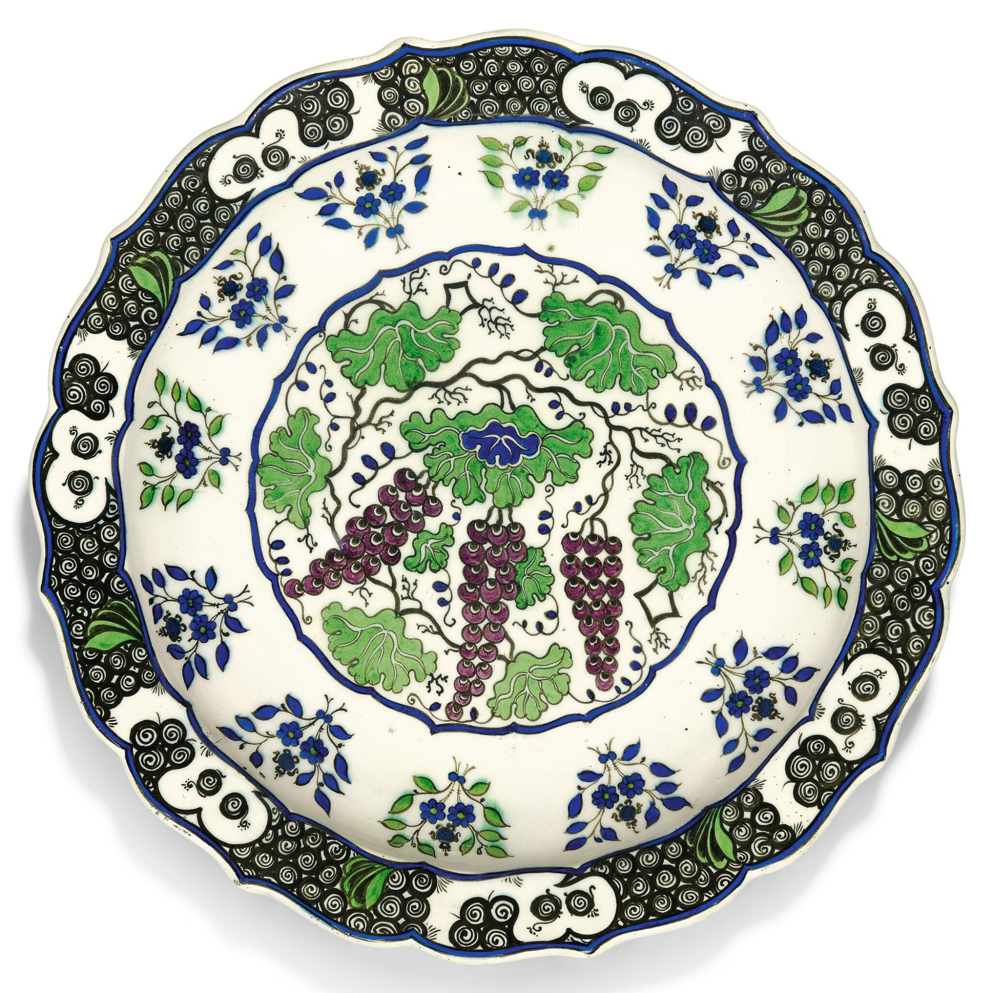 View full screen - View 1 of Lot 227. A LARGE THEODORE DECK IZNIK-STYLE POTTERY DISH WITH GRAPES, FRANCE, 19TH CENTURY.