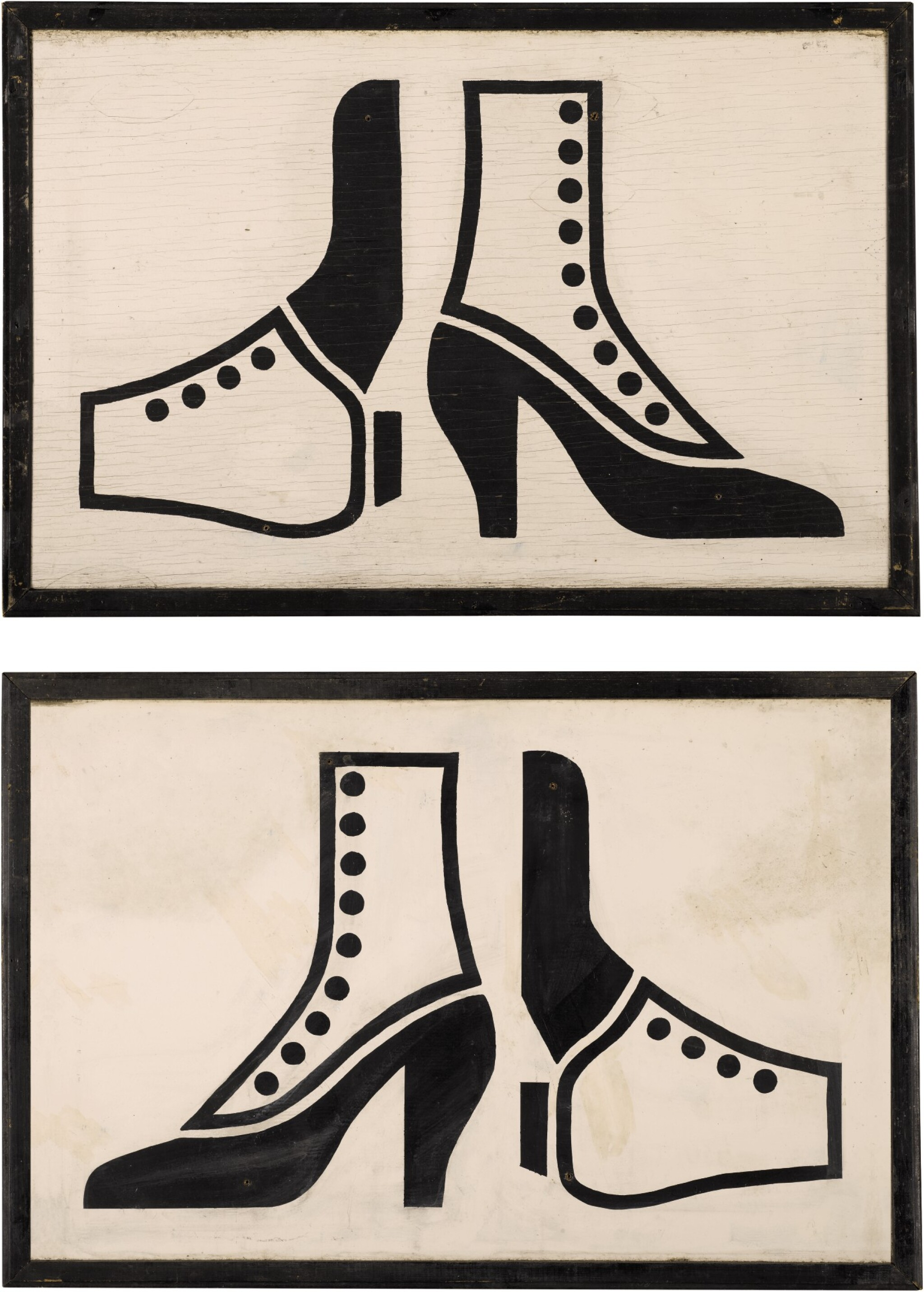 View full screen - View 1 of Lot 1526. PAIR OF 'VICTORIAN BUTTON BOOTS' PINE TRADE SIGNS, EARLY 20TH CENTURY.