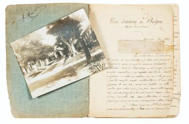 """View 1. Thumbnail of Lot 90. [NOUVELLE-CALEDONIE]. Manuscrit autographe """"Une évasion du bagne"""", 1927. Cahier in-8 (étui moderne), 75 p.."""