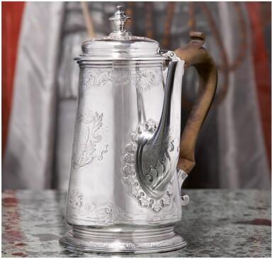 View 1. Thumbnail of Lot 55. A GEORGE II SILVER COFFEE POT, PAUL DE LAMERIE, LONDON, 1735.