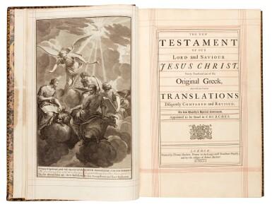 View 1. Thumbnail of Lot 69. Bible, London, 1751, 4 volumes, navy morocco gilt, Newcastle copy.