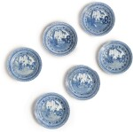 SIX CHINESE BLUE AND WHITE SMALL DISHES, KANGXI MARKS AND PERIOD