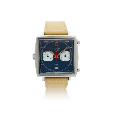 View 1. Thumbnail of Lot 83. HEUER | REFERENCE 1133 MONACO A STAINLESS STEEL RECTANGULAR CHRONOGRAPH WRISTWATCH WITH DATE, CIRCA 1970.