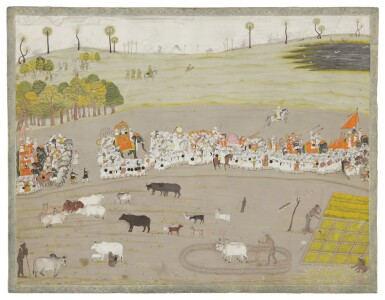 View 1. Thumbnail of Lot 368. A NAWAB AND HIS RETAINERS IN PROCESSION, INDIA, MURSHIDABAD, CIRCA 1760-1770.