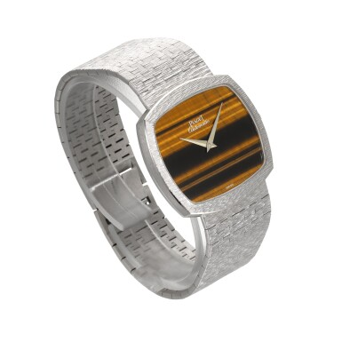 View 3. Thumbnail of Lot 1204. PIAGET | REF 12731 A6, WHITE GOLD BRACELET WATCH WITH TIGER'S EYE DIAL CIRCA 1990.