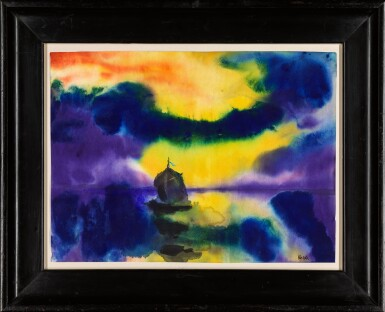 View 2. Thumbnail of Lot 109. Meer mit Abendhimmel und Segelboot (Sea with Evening Sky and Sailing Boat) | 《黃昏天空下的海和船》.