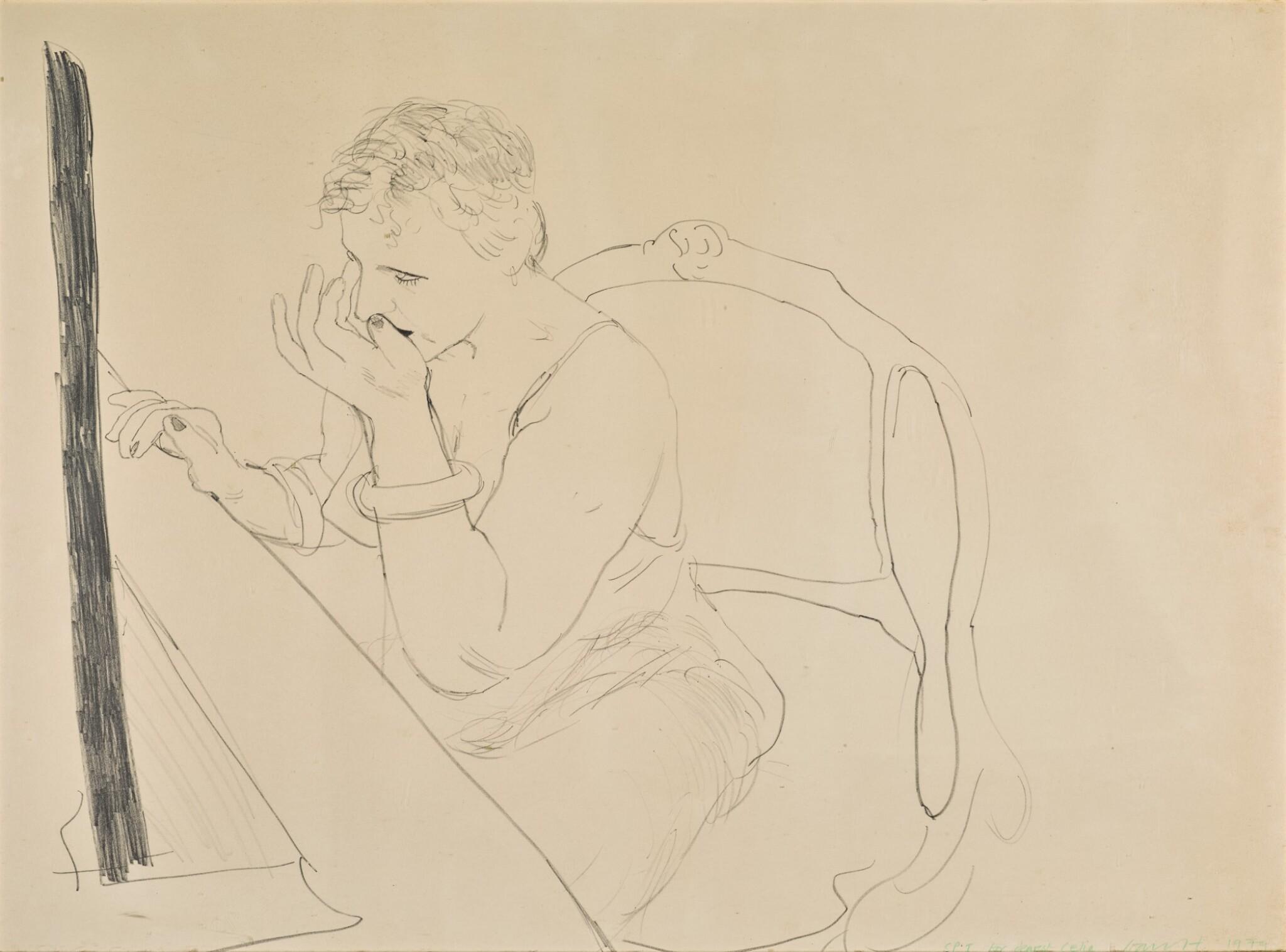 View full screen - View 1 of Lot 145. DAVID HOCKNEY, R.A.    CELIA ADJUSTING HER EYELASH (GEMINI 837).