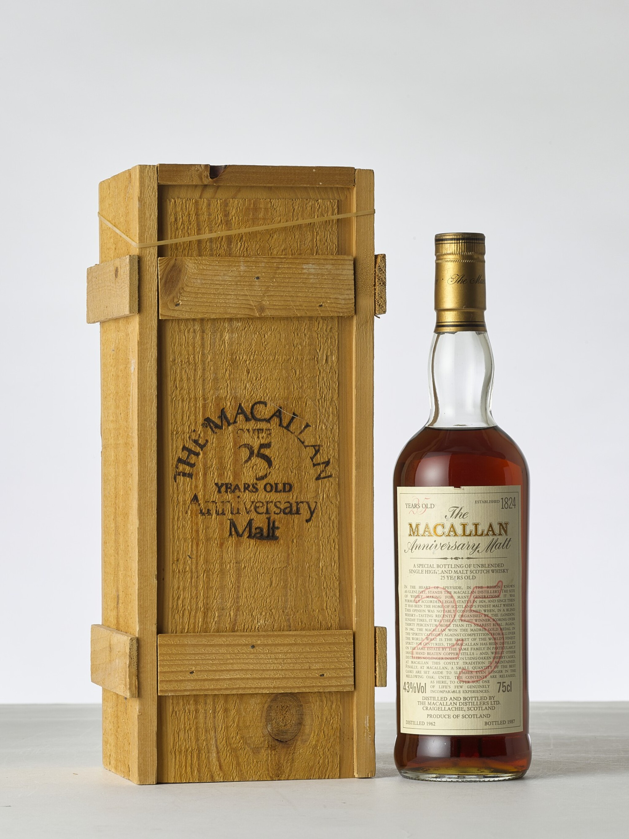 View 1 of Lot 2014. The Macallan 25 Year Old Anniversary Malt 43.0 abv 1962 (1 BT).