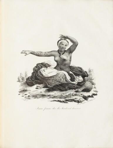 """View 2. Thumbnail of Lot 37. ARAGO (Jacques). Atlas pour """"Promenade autour du monde"""" [1822]. Petit in-folio 1/2 basane verte."""