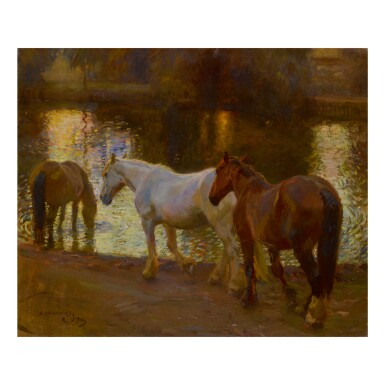 SIR ALFRED JAMES MUNNINGS, P.R.A., R.W.S. | EVENING AT MENDHAM (THE FORD)