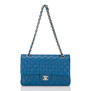 View 6. Thumbnail of Lot 43. Chanel Blue Quilted Medium Classic Double Flap Bag of Lambskin Leather with Light Gold Tone Hardware.