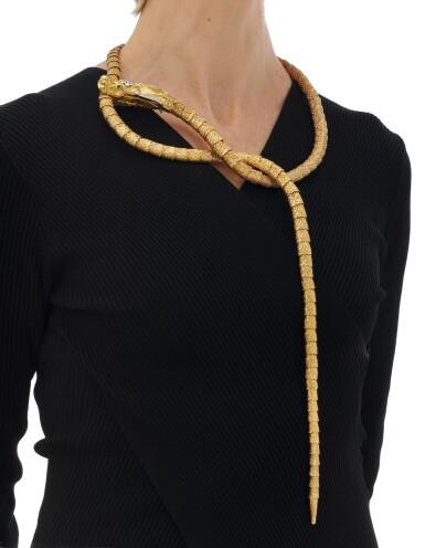 View 9. Thumbnail of Lot 64. Diamond necklace/belt (Collana/cintura con smeraldi e diamanti).