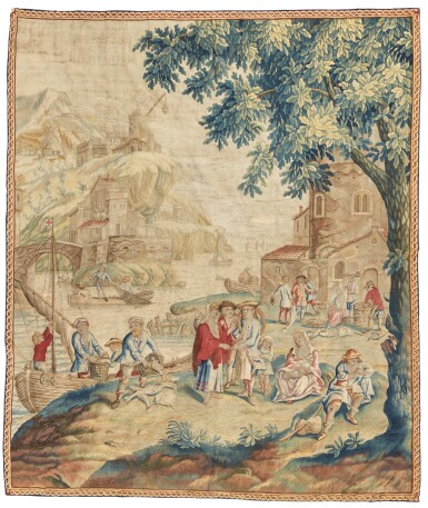 View 1. Thumbnail of Lot 75. 'Fishing Harbour', An English Genre Tapestry, London, possibly Chabaneix workshop, 18th century.