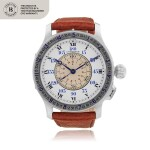 Lindbergh Hour Angle, Ref. 4365 Oversized stainless steel pilot's wristwatch with enamel dial and silver bezel Circa 1944   4365型號「Lindbergh Hour Angle」特大型精鋼飛行員腕錶配琺瑯錶盤及銀錶圈,年份約1944