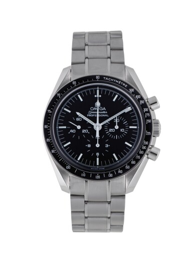 View 1. Thumbnail of Lot 11. OMEGA | SPEEDMASTER, REF 35705000 STAINLESS STEEL CHRONOGRAPH WRISTWATCH WITH BRACELET CIRCA 2004.
