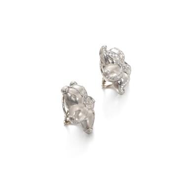 View 2. Thumbnail of Lot 47. Gold an diamond ear clips.