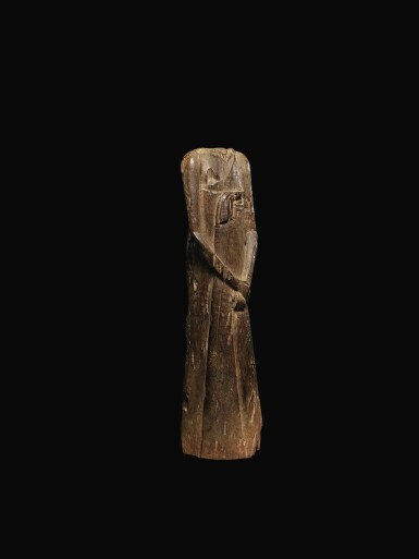 View 2. Thumbnail of Lot 65. AN EGYPTIAN WOOD FIGURE OF A MAN, SECOND PERSIAN PERIOD, 342-332 B.C..
