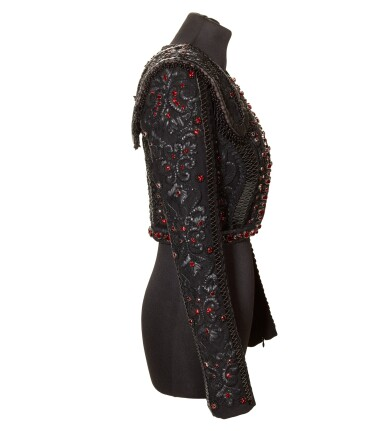 View 6. Thumbnail of Lot 10. A Matador Inspired Handmade Short Jacket in Leather Details and Swarovski Crystals made for Madonna, circa 2015.