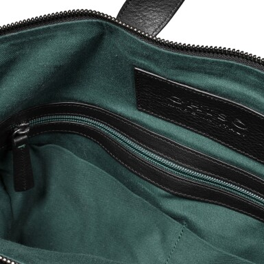 View 5. Thumbnail of Lot 723. BLACK LEATHER TOTE MESSENGER BAG.