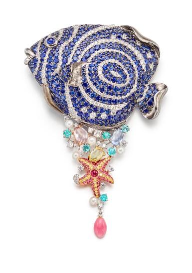 View 1. Thumbnail of Lot 1608. GEM SET, CONCH PEARL, CULTURED PEARL AND DIAMOND BROOCH | 寶石, 海螺珠 配 養殖珍珠 及 鑽石 別針.