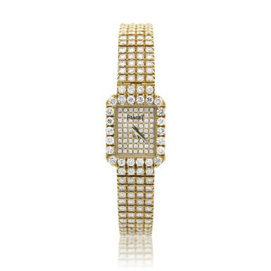 View 1. Thumbnail of Lot 29. Reference 15241 C626   A yellow gold and diamond-set bracelet watch, Circa 1990 .