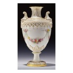 A ROYAL WORCESTER RETICULATED PORCELAIN VASE BY GEORGE OWEN, PAINTED BY ERNEST PHILLIPS 1909