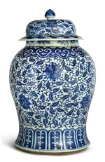 A BLUE AND WHITE 'FLORAL' BALUSTER JAR AND COVER, 19TH CENTURY