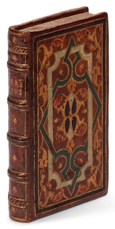 Terentius, Comoediae, Lyon, 1546, contemporary calf gilt binding with coloured interlacing