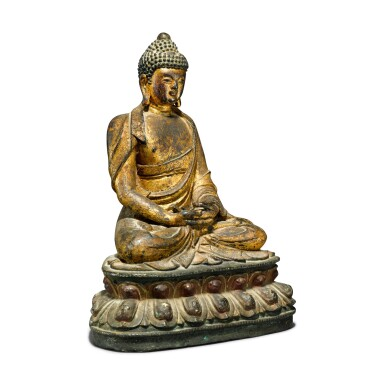 View 2. Thumbnail of Lot 44. A gilt-lacquer bronze figure of seated Buddha, 17th / 18th century.