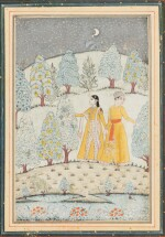 INDE, RAJASTHAN AND PAHARI SCHOOLS, 19TH CENTURY   A DRAWING AND THREE MINIATURES
