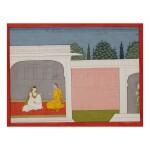 AN ILLUSTRATION TO A BHAGAVATA PURANA SERIES: SUDAMA WATCHES KRISHNA AND RUKMINI IN CONVERSATION,  INDIA, KANGRA, CIRCA 1800