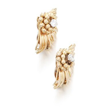 View 2. Thumbnail of Lot 102. Pair of gold and diamond ear clips.