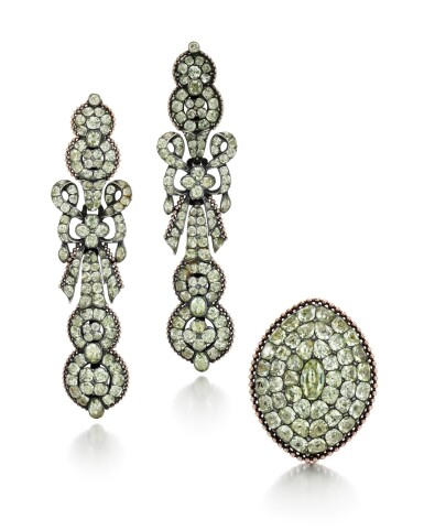 View 1. Thumbnail of Lot 214. PAIR OF CHRYSOBERYL EARRINGS AND A RING.