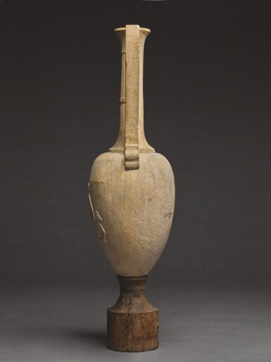 A FRAGMENTARY GREEK MARBLE LOUTROPHOROS INSCRIBED FOR KOLYMBAS, ATTIC, 1ST HALF OF THE 4TH CENTURY B.C.