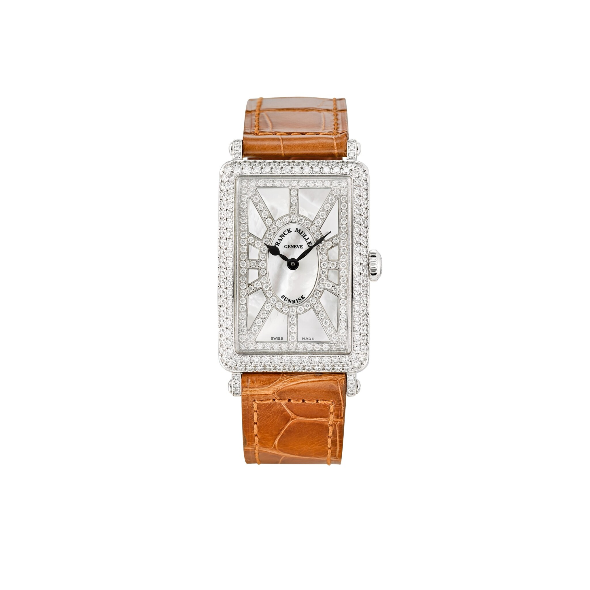 View full screen - View 1 of Lot 106. FRANCK MULLER | LONG ISLAND, REFERENCE 952 QZ SNR D CD, A WHITE GOLD AND DIAMOND-SET WRISTWATCH WITH MOTHER-OF-PEARL DIAL, CIRCA 2018.