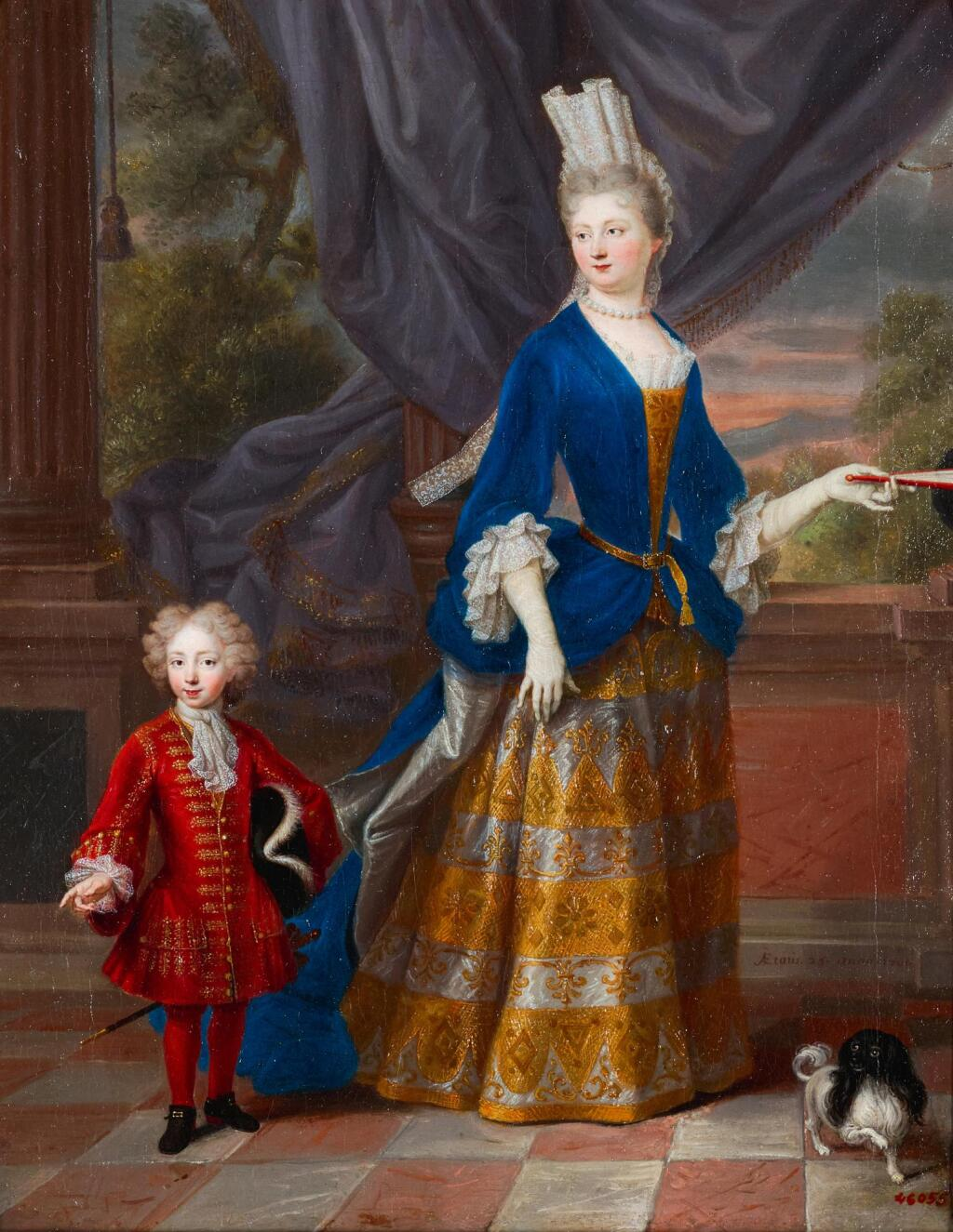 FRENCH SCHOOL, CIRCA 1700 | A portrait of an elegant lady, aged 25, together with a young boy and a spaniel