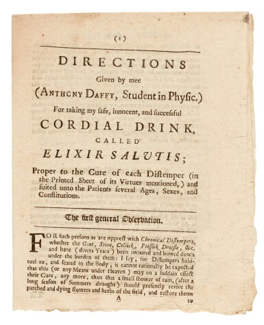 View 2. Thumbnail of Lot 22. DAFFY | Elixir Salutis, 1681, 2 pamphlets.