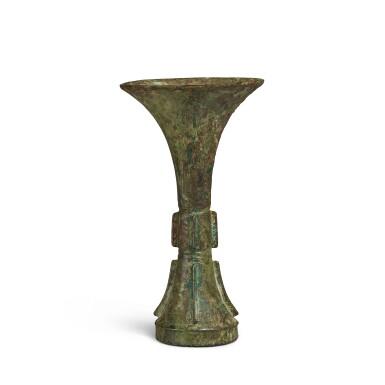 View 2. Thumbnail of Lot 2. An archaic bronze ritual wine vessel (Gu), Late Shang dynasty | 商末 青銅饕餮紋觚.