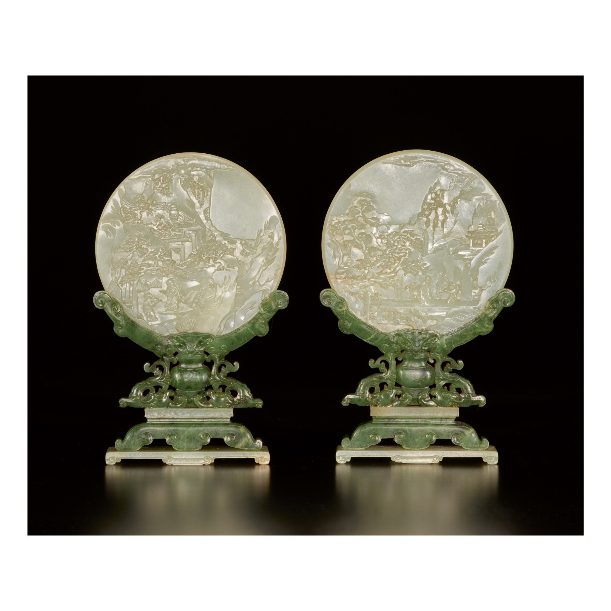 View full screen - View 1 of Lot 655.  A PAIR OF CELADON JADE TABLE SCREENS WITH STANDS, QING DYNASTY.